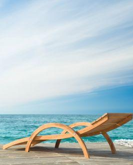 Sabrina Tumbona de madera para tomar el sol (con colchón)